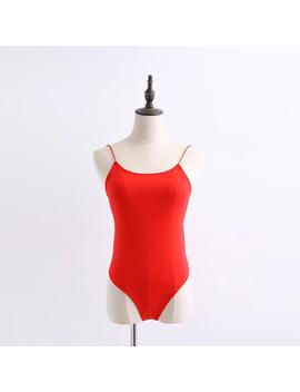 Women Sexy Skinny Solid Bodysuit Backless Back Double Lace Up Women Sexy Solid Bodysuits  by Julia Kiss