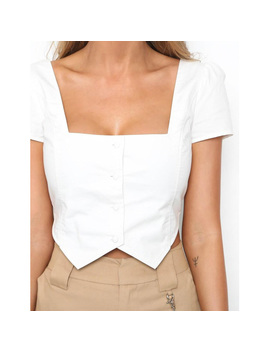 Vestlinda Crop Top 2018 Square Neck Short Sleeve Button Shirt Blouses Blusas Women Casual White Blouse Femme Cropped Sexy Tops by Vestlinda