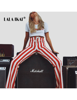 Lalaikai Ins Wide Leg Pants Trousers Women Striped Printed High Waist Loose Pant Female High Street Lace Up Pant Girl Swb1863 47 by Lala Ikai
