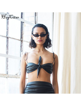 Hugciter Black Pu Leather Spaghetti Straps Tank Top 2018 Summer Women Crop Top Fashion Party Club Wear Sexy Camis by Hugcitar