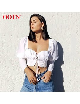 Ootn Puff Sleeve Crop Top Shirts Women Sexy Lace Up Tunic Blouse Female Long Sleeve White Blouse Square Collar Short Chemise  by Ootn