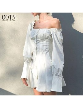 Ootn Long Sleeve White Tunic Dresses Women Square Neck Mini Short Shirt Dress Female Button Down Party Dress Autumn Winter 2018 by Ootn