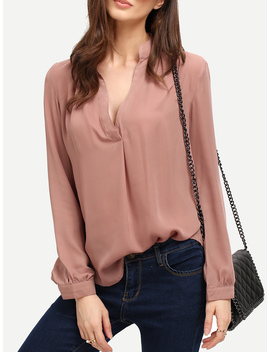 Pink Long Sleeve Loose Blouse by Romwe