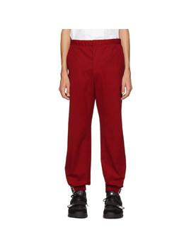 Red Poplin Divisa Trousers by Prada