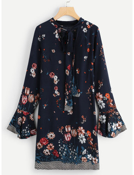 Tie Neck Floral Tunic Dress by Shein