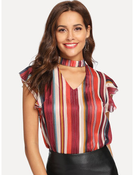 Choker Neck Striped Ruffle Top by Shein