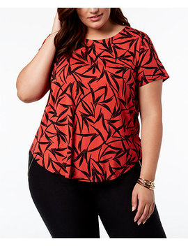 Plus Size Floral Print T Shirt, Created For Macy's by Alfani