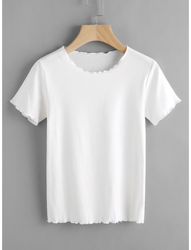 Lettuce Edge Trim Tee by Sheinside