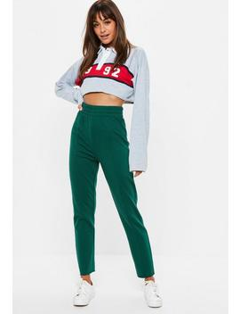 Green Straight Leg Cut Off Deep Waistband Joggers by Missguided
