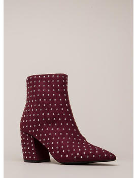 Studded Stunner Pointy Chunky Booties by Go Jane