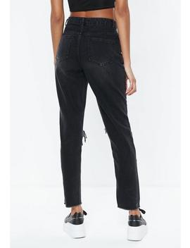 Black Riot Highrise Rip Knee Jeans by Missguided