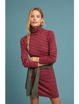 Striped Tutleneck Petite Dress by Three Dots