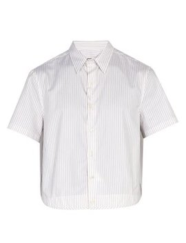Cropped Striped Cotton Poplin Shirt by Raf Simons