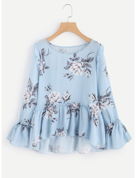 Flower Print Trumpet Sleeve Frilled Smock Top by Shein