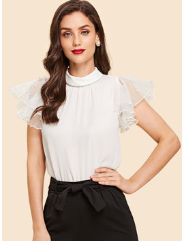 Mesh Sleeve With Pearl Beading Mock Top by Shein