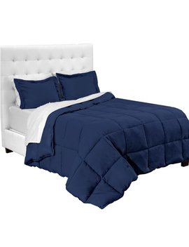 7 Piece Bed In A Bag   Full (Comforter Set: Dark Blue, Sheet Set: White) by Bare Home