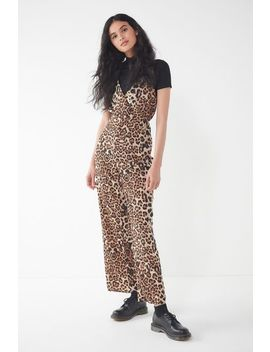 Uo Leopard Print Surplice Jumpsuit by Urban Outfitters