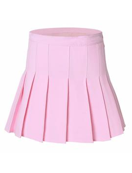 Tremour Women High Waist Pleated Mini Tennis Skirt Solid Short Skirts by Tremour