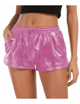 Tandisk Women's Yoga Hot Shorts Shiny Metallic Pants With Elastic Drawstring by Tandisk