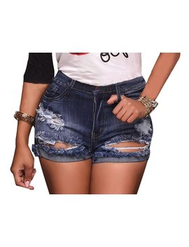Olyha Womens Distressed High Waisted Denim Shorts Destroyed Ripped Folded Hem Jean Shorts Stretchy With Pockets by Olyha