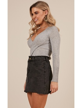 Living This Way Knit Top In Grey by Showpo Fashion
