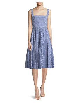 Square Neck Sleeveless Plaid Fit And Flare Dress by Lela Rose