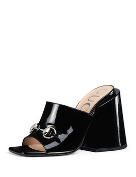 Patent Chunky Heel Slide Sandals by Gucci