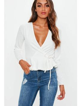 White Wrap Front Peplum Top by Missguided