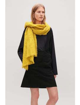 Crinkled Stretch Cotton Scarf by Cos