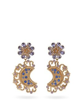 Crystal Embellished Star And Moon Clip On Earrings by Dolce & Gabbana