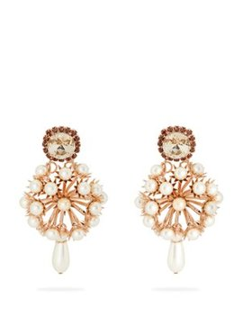 Crystal Embellished Rose Gold Tone Drop Earrings by Erdem