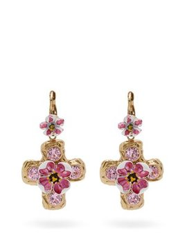 Flower And Crystal Embellished Cross Earrings by Dolce & Gabbana
