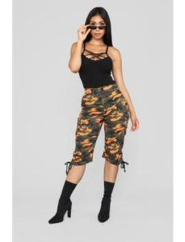 Fiorella Cargo Shorts   Orange by Fashion Nova