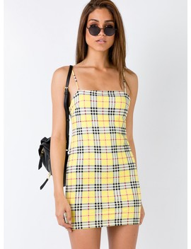 Motel Selah Dress Yellow Check by Motel
