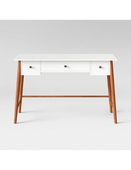 Amherst Mid Century Modern Three Drawer Writing Desk White/Brown   Project 62™ by Shop Collections