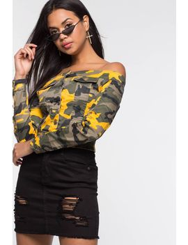 Camo Off The Shoulder Jacket by A'gaci