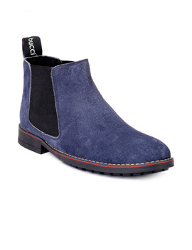 Bacca Bucci Men Blue Solid Leather High Top Flat Boots by Bacca Bucci