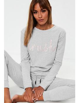 Grey Slogan Embroidered Lounge Tracksuit by Missguided