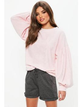 Pink Towelling Sweatshirt by Missguided