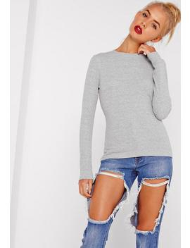 Tall Grey Crew Neck Ribbed Top by Missguided