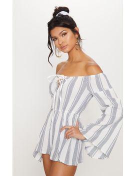 White Stripe Bardot Playsuit by Prettylittlething