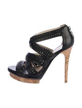 Women's Black Leather Platforms Sandals by Alexandre Birman