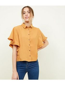 Cameo Rose Mustard Collared Frill Trim Shirt by New Look