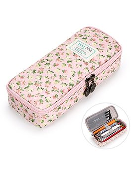 Btsky Cute Pencil Case   High Capacity Floral Pencil Pouch Stationery Organizer Multifunction Cosmetic Makeup Bag, Perfect Holder For Pencils And Pens (Pink) by Btsky