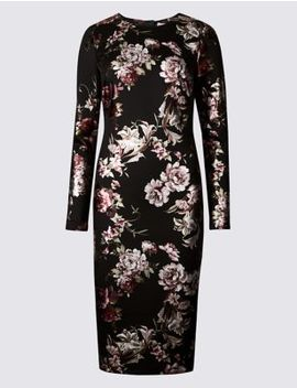 Floral Print Long Sleeve Bodycon Dress by Marks & Spencer
