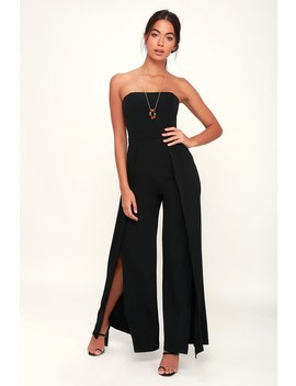 Count Me In Black Strapless Wide Leg Jumpsuit by Lulu's