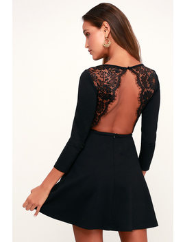 Felicity Black Backless Lace Skater Dress by Lulu's