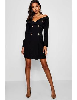 Tall Off The Shoulder Military Blazer Dress by Boohoo