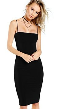 Floerns Women's Sexy Spaghetti Strap Sleeveless Bodycon Midi Club Dress by Floerns