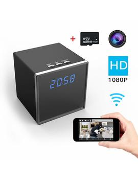 Corprit Wireless Hidden Spy Camera Hd 1080 P Wi Fi Home Security Camera Black Cube Table Alarm Clock Surveillance Baby Monitor Camera,16 Gb Micro Sd Card Included by Amazon